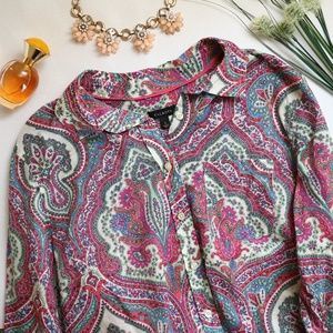 Talbots Bright Career Paisley Button Down